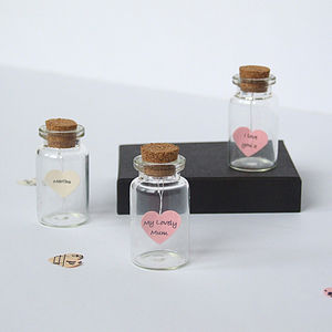 Tiny Personalised Heart Message In A Bottle - valentine's cards