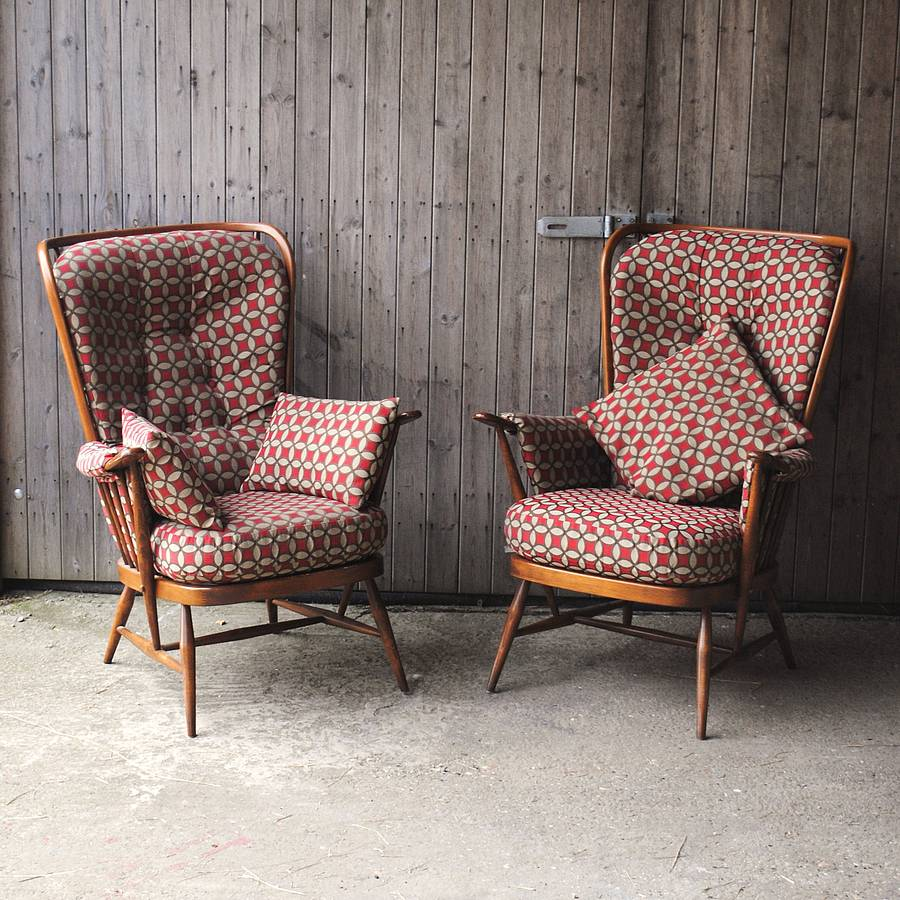 Pair Of Vintage Ercol Highback Armchairs By Iamia