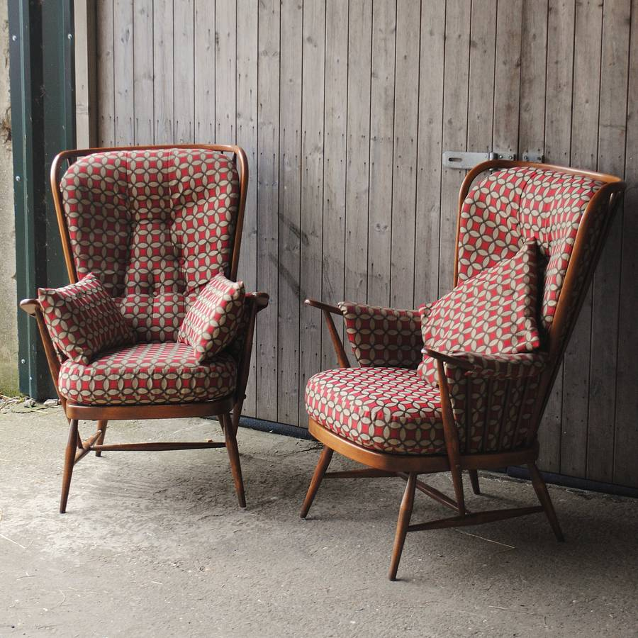 pair of vintage ercol highback armchairs by iamia ...