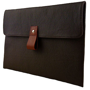 Chocolate Leather 11 Inch Macbook Air Case - bags & purses