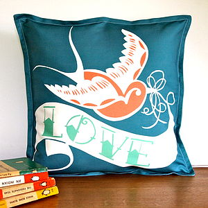 Swallow Tattoo Love Cushion Cover