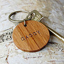 Daddy Wooden Circle Keyring
