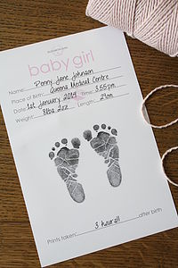 Baby Hand And Foot Inkless Print Certificate - keepsakes