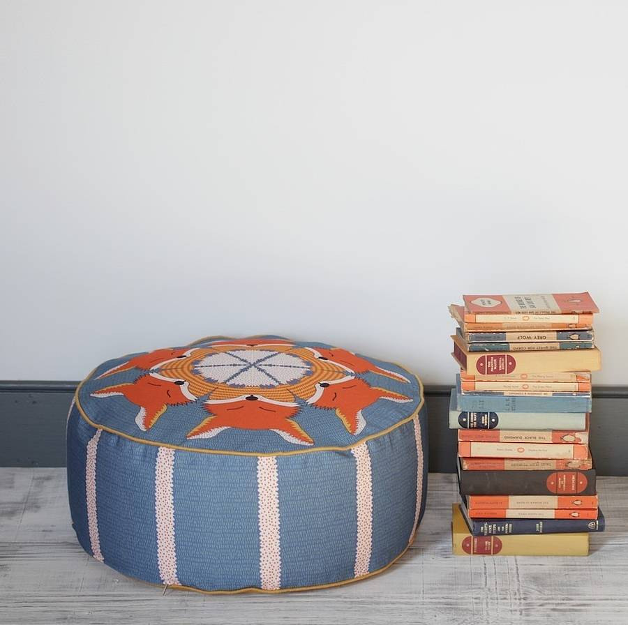 fox patterned pouffe ottoman beanbag by orwell and goode. Black Bedroom Furniture Sets. Home Design Ideas