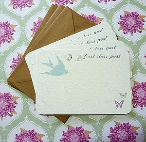 Set Of Six 'First Class Post' Notecards
