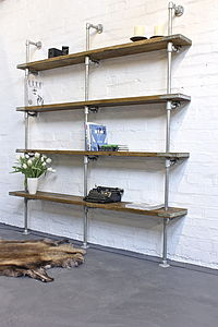 Anna Reclaimed Wood And Steel Pipe Urban Bookcase - living room
