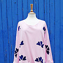 Pink And Navy Hand Printed Sweater
