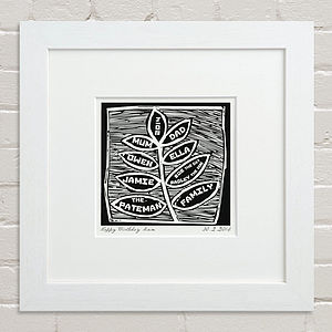 Black And White Woodcut Family Tree Print - posters & prints