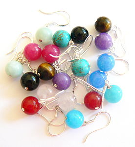 Coloured Semi Precious Drop Earrings - earrings