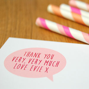 12 Pink Children's Thank You Cards - personalised