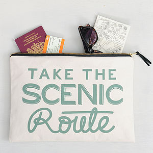 'Take The Scenic Route' Large Travel Pouch
