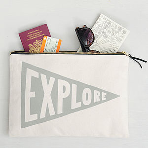 'Explore' Large Travel Pouch