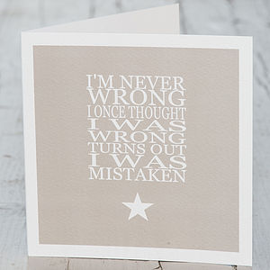 Card 'I'm Never Wrong'