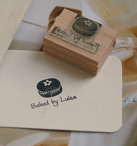 Personalised 'Baked By' Macaroon Stamp - stationery