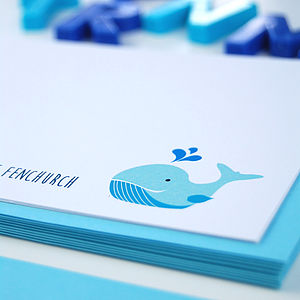12 Personalised A6 Whale Thank You Cards - toys & games