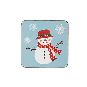 Christmas Snowmen Coasters Pk4 - christmas home accessories