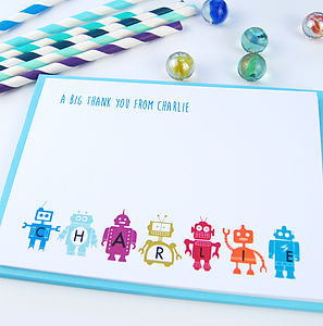 12 Personalised Robot Thank You Cards - toys & games