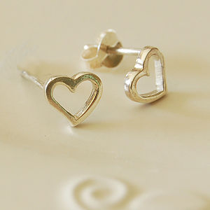 Silver Open Heart Earrings - wedding earrings