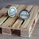 Postal Stamp Personalised Cufflinks