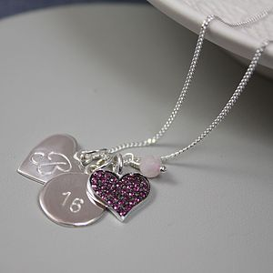 Personalised Necklace And Crystal Heart Charm