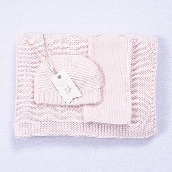 Babies Pale Pink Hat Scarf And Blanket Gift Set