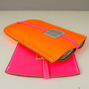 Flourescent Personalised Leather Phone Cover - gifts for teenagers