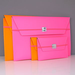 Neon Leather Personalised Document Wallet - bags & purses