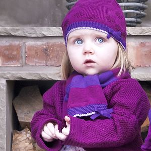 Girls Striped Hat And Scarf Gift Set