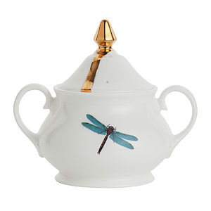 Dragonflies Bone China Sugar Bowl - dining room