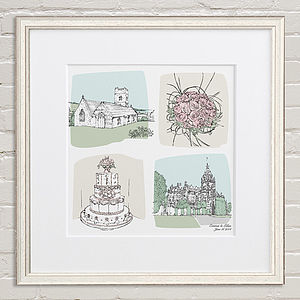 The Story Of Our Wedding Illustration - personalised wedding gifts
