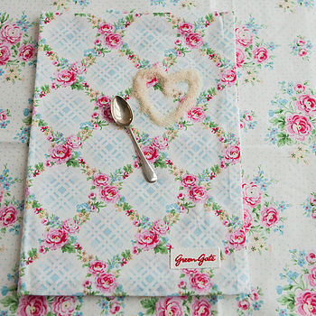 Lotta White And Blue Floral Tea Towel