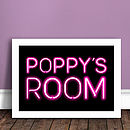 Personalised Kids Neon Sign Print PINK