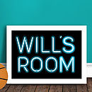 Personalised Kids Neon Sign Print BLUE