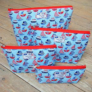 Nautical Sailboat Toiletry Cosmetic Wash Bag