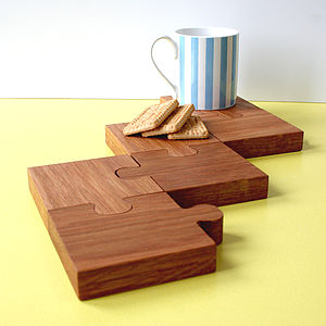 Chunky Jigsaw Coasters And Trivet - placemats & coasters