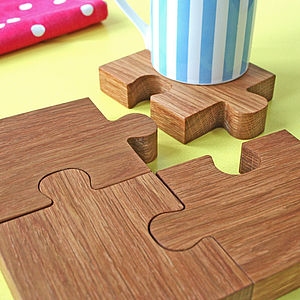 Chunky Jigsaw Coasters And Trivet - tableware