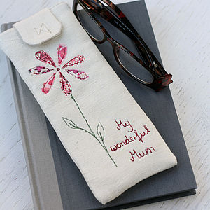 Personalised Glasses Case Single Flower