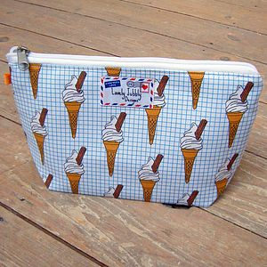Ice Cream On Graph Cosmetic Toiletry Wash Bag - home