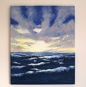 Dancing The Waves Painting On Canvas - paintings & canvases