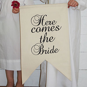 Here Comes The Bride Banner - outdoor decorations