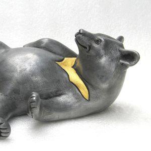 Delaney Pewter Resin Bear Sculpture - sculptures