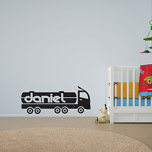Boy's Personalised 18 Wheel Truck Wall Art - wall stickers