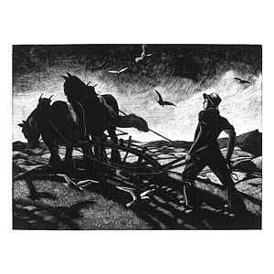 November Ploughing Print - contemporary art