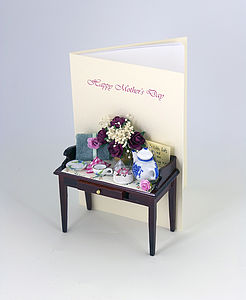 3 D Mum High Tea Personalised Greetings Card - mother's day cards