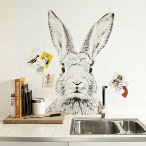 Rabbit Print Magnetic Wallpaper - mixed media & collage