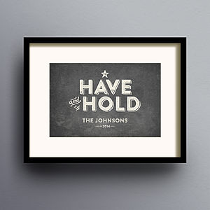 'To Have And To Hold' Wedding Print - view all sale items