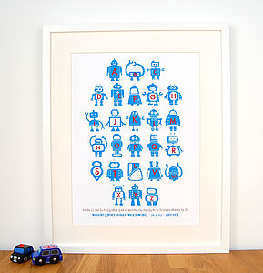 Blue Personalised Robot Alphabet Print