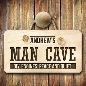 Personalised 'Man Cave' Wooden Sign - home