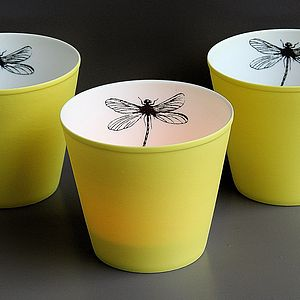 Yellow Dragonfly T Light Holder - table decorations