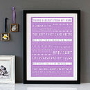 Bespoke 'Things I Learnt From My Mum' Framed Print - Purple